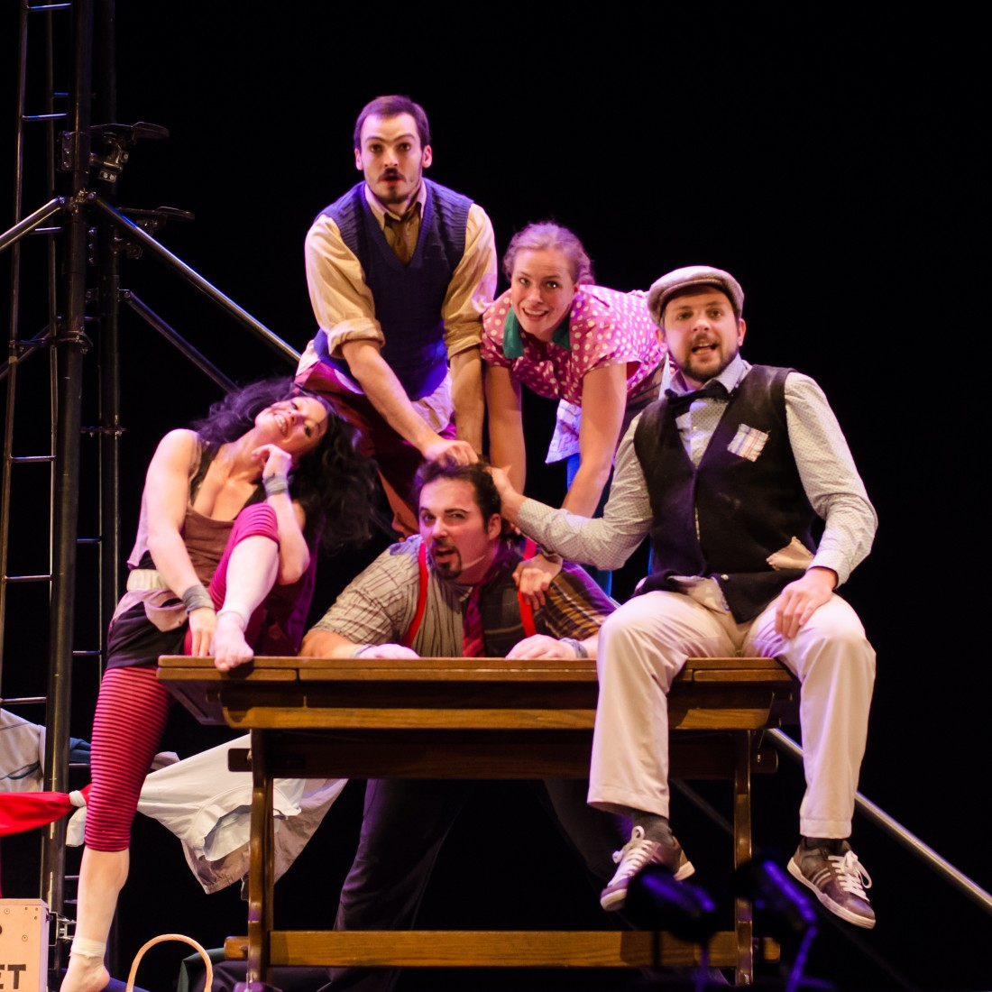 Thrillingly spectacular circus skills blend seamlessly with physical comedy, theatrical storytelling and slapstick in this colourful, loud and funny dramatisation of the domestic adventures of a chaotic family of misfits. Nuffield Theatre Lancaster. Saturday 13th February 2016.