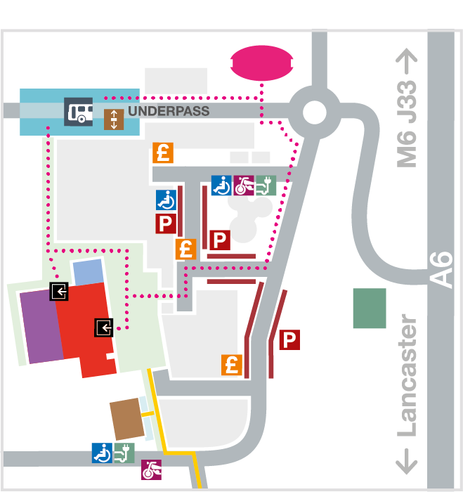Lancaster Arts Campus Map indicating parking and public transport for Nuffield Theatre, Peter Scott Gallery and Lancaster University Great Hall
