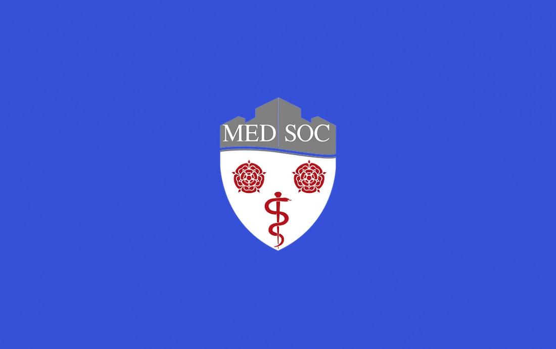 Lancaster University Med Soc Logo on blue background