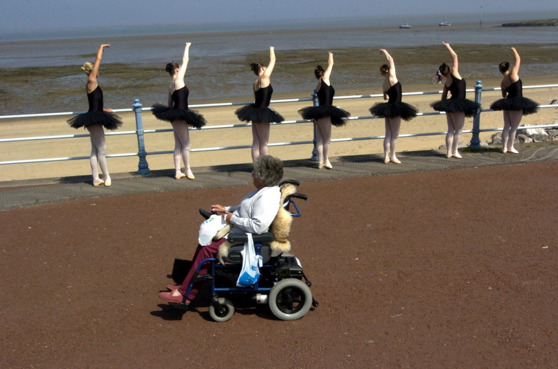 A photograph taken at Morecambe by Darren Andrews featuring in the Dancing Lancaster exhibition.  Held in the LICA building (22 Oct-14 Dec 2012)