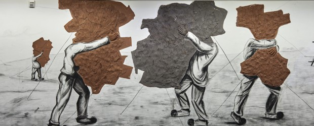 Prabhakar Pachpute, <em>Resistance</em>, 2016, charcoal, nails, jute and clay on wall. Courtesy the artist