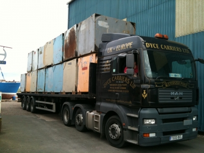 Steel pontoons arriving at Amble Boat Company for the build
